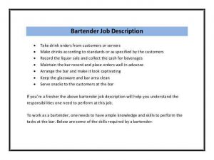 Bartender Job Description Sample