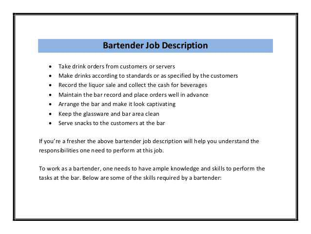 bartender job description sample bartender online guide