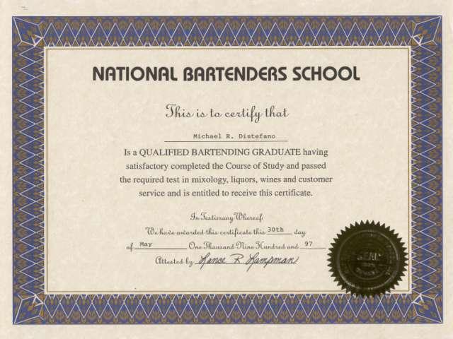 Bartender License Certification Sample