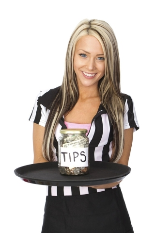 lady with Bartender with a tip jar
